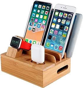 MixMart USB充電器 複数ポート 充電スタンド 充電ステーション 同時充電 タブレット スマホ充電 iPad充電 ケーブル収納 ボックス Apple/iPhone/iPad/AirPods/Android/Type C 竹製 収納