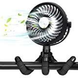 Portable Battery Powered Stroller Fan,Mini Handheld Personal USB Fan,Car Seat Baby Fan with Flexible Tripod,360° Rotatable Ul