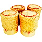 Sandeko Kai White Orchid Sticky Rice Basket Thai Laos Handmade Bamboo To Keep Sticky Rice Warm (Yellow Set Of 4)