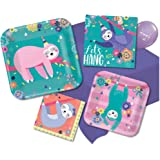 Sloth Birthday Party Supplies Set for 16- Paper plates, Napkins and Table Cover