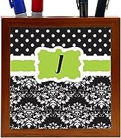 Rikki Knight Rikki Knight Initial J Blue Black Damask Dots Design 5-Inch Tile Wooden Tile Pen Holder (RK-PH44448) [並行輸入品]