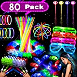 72 Pack LED Light Up Toys Glow in the Dark Thanksgiving Party Supplies Favors for Kids Girls Boys Teens with 36 Glow Sticks 20 Finger Lights 4 LED Hair 4 Bumpy Rings 4 LED Glasses 4 LED Bracelet Cosplay