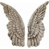 Wings of Protection Pair of 11 inch Aged Finish Wall Sculpture - Angel Wings Art Wall Decor