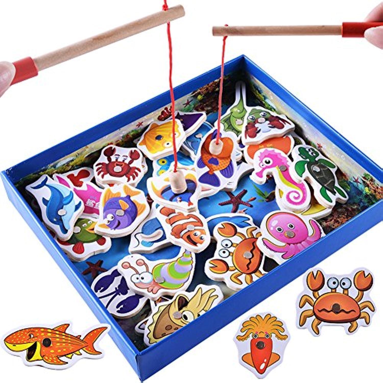 トトハウス(TOTO HOUSE)木製パズル 釣りゲーム 海の生き物 32PSC 磁気釣り 魚マグネット ポールゲーム 釣りキッズ 知育玩具