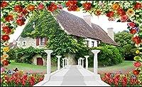 Bzbhart 3D壁紙シルク壁画壁ステッカー愛はロマンチックな家の花の壁紙絵画 の壁紙ルームです-250cmx175cm