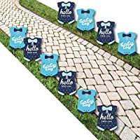 Hello Little One - Blue and Navy - Baby Bodysuit Lawn Decorations - Outdoor Boy Baby Shower Yard Decorations - 10 Piece [並行輸入品]
