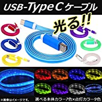 AP USB 変換ケーブル Type-C 1m 暗闇で美しく光る! 充電/同期/データ転送に! イエロー タイプ2 AP-TH740-YE-T2