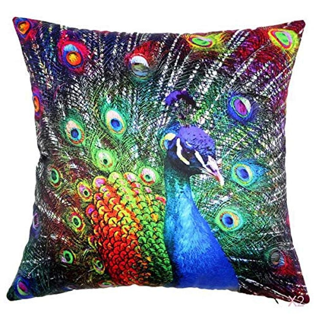 些細キャンバス口頭FLAMEER 45センチメートル家の装飾スロー枕カバークッションカバーヴィンテージ孔雀のパターン02