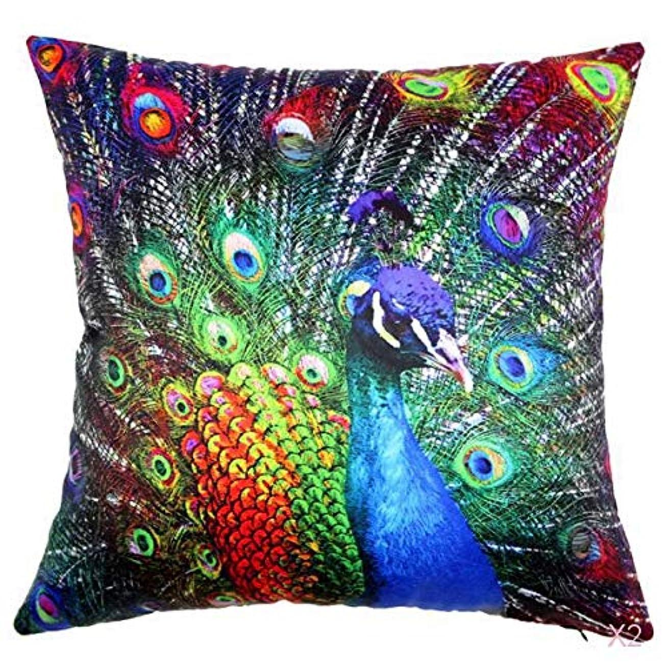 晩ごはん感謝しているバルセロナ45センチメートル家の装飾スロー枕カバークッションカバーヴィンテージ孔雀のパターン02