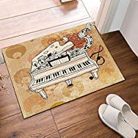 FidgetGear Hand Draw Old Piano Music Waterproof Fabric Home Decor Shower Curtain 71inches Mat