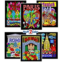 Fuzzy Velvet Colouring Pages - Paris, Rome, Madrid, Amsterdam, London, and Munich