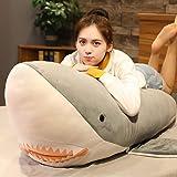MILEE 特大鮫ぬいぐるみ サメぬいぐるみ 大きい鮫の抱き枕 ふわふわ魚の抱きまくら shark (グレー, 200cm)