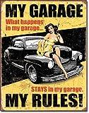 ガレージの中では俺が法律!★MY GARAGE MY RULES★レトロ調★アメリカンブリキ看板