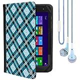VanGoddyメアリー2.0Standingポートフォリオケースfor HP Pro Slate 10EE g1/ HP Pro 10EE g110.1インチタブレットwithブルーヘッドフォン、ブルーチェッカー