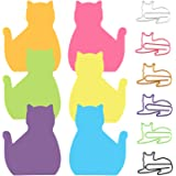 6 Color Cat Paper Clips and Silhouette Cat Sticky Notes Set, Cat Lover Gifts for Women, Cute Cat Office Supplies, Office Desk