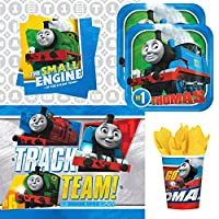 Thomas the Tank Engine Train Party Supplies Pack for 16 Guests: Dessert Plates, Beverage Napkins, Cups, and Table Cover