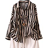Minibee Women's Linen Shirts Striped Button Down Blouse Long Sleeve Tops with Pockets