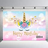 LB Unicorn 7x5FT Pink Angel Backdrop Cute Birthday Party Birthday Photography Backdrop For Kids Adult Photo Booth Background