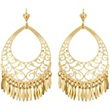 18K Gold Plated Gold Filigree Cut-out Dangling Earrings