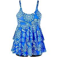 CharMma Women's Plus Size Paisley Print Double Tier Tankini Top with Boyshorts Swimsuit