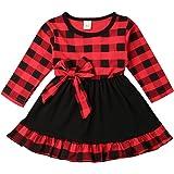 Seyurigaoka Baby Girl Christmas Outfits, Toddler Girl Long Sleeve Bowknot Buffalo Plaid Ruffle Dress for Princess Xmas Dress