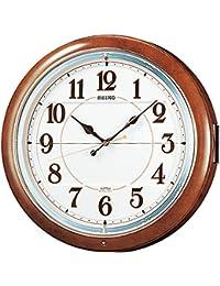 セイコー クロック 掛け時計 電波 アナログ からくり 6曲 メロディ 茶 マーブル 模様 RE559H SEIKO