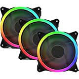upHere 120mm Case Fan Rainbow LED Silent Fan for Computer Cases, CPU Coolers,Water Cooler and Radiators Ultra Quiet,3 Pack Co