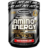 MuscleTech Essential Series Platinum Amino Plus Energy BCAA Powder, Watermelon Flavour, 280g (30 Servings)