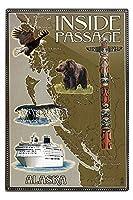 アラスカの内側Passageマップ 12 x 18 Metal Sign LANT-45446-12x18M