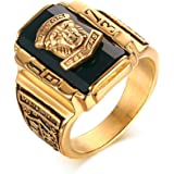VNOX 18K Gold Plated Stainless Steel Red Rhinestone 1973 Walton Tigers Signet Ring for Men, Size 7-11