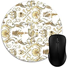 MOSJR Gaming Mouse Pad 1J639, 7 inches Round Natural Rubber Base, Non-Slip Mouse Mat Rococo and A Bottle of Rum