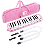 Vangoa Pink 32 Key Portable Melodica With Melodica Stickers, 2 Mouthpieces, Carrying Bag, For Music Lovers Beginners