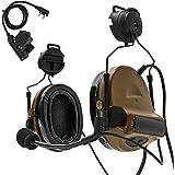 TAC-SKY C2ヘルメットバージョンタクティカルヘッドセット、レールアダプターとU94 kenwood PTT附属 (コヨーテブラウン)