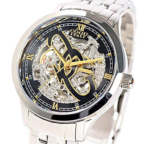 コグ COGU 両面スケルトン 腕時計 並行輸入品 オートマチック ブラックイエローゴールド 3006M-GL [時計]