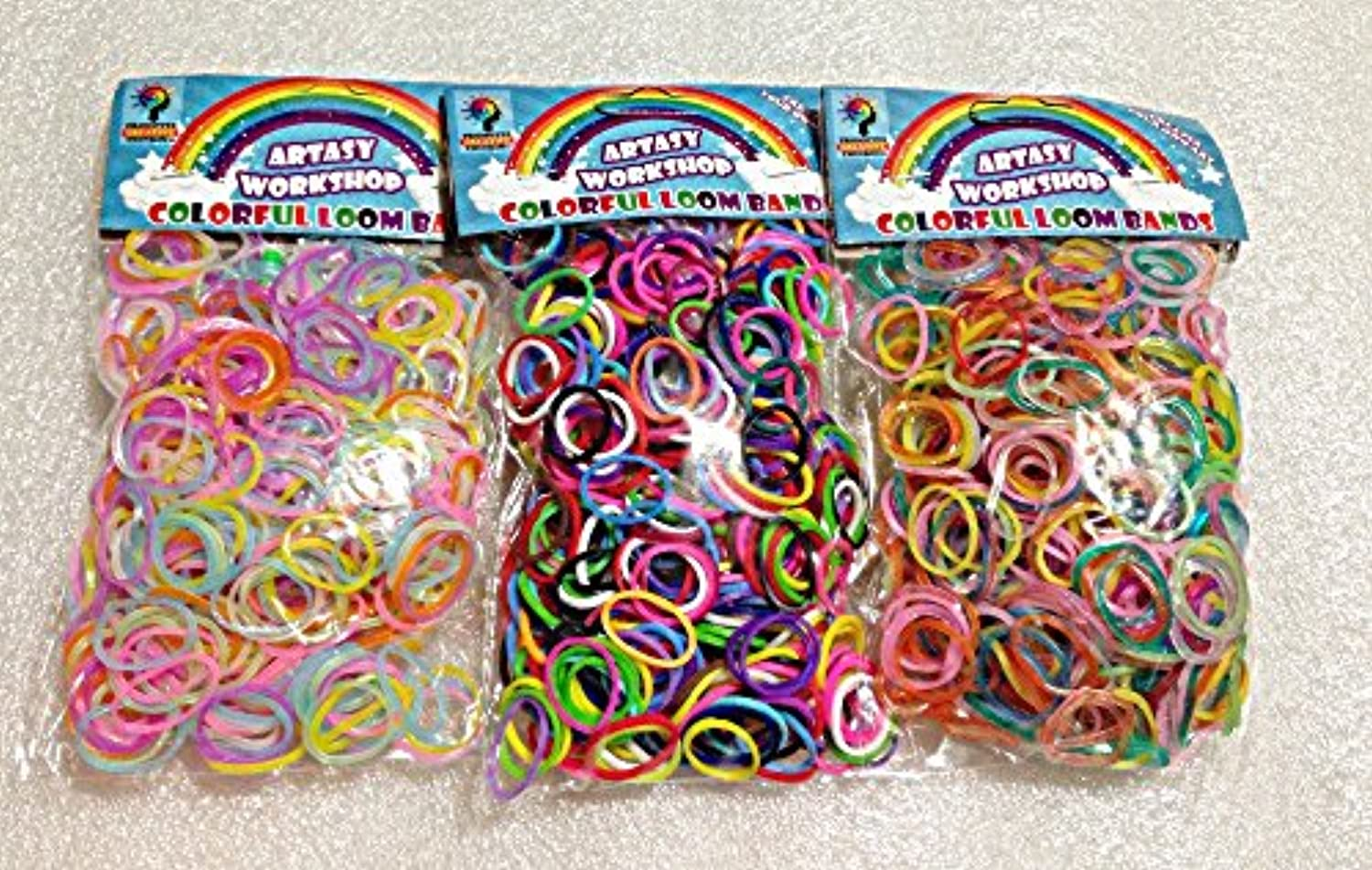 [Artasy Workshop] バンドブレスレット (蛍光&普通&銀ラメ) ミックスゴム3種類セット Loom Bands refill Pack - (1800) rubber ring Color: Rainbow Triple[並行輸入品]