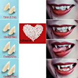 Vampire Teeth Fangs Fake Teeth - 4 Pair - Cosplay Props Halloween Costume Props Party Favors (13mm 15mm 17mm 19mm) - with Adh