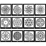 12枚 マンダラ ステンシル 描画 塗装テンプレート スクラップブック アート図面定規 子供 知育 想像力育て 塗り絵 図面ステンシル 円定規