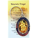 St Christopher Metal Keychain Travel Saint Key Ring with Motorist Prayer Holy Card Set