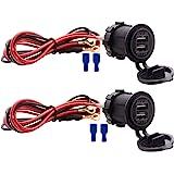 WYMECT Dual USB Charger Socket Waterproof Power Outlet 12V/24V 2.1A & 2.1A for Car Boat Marine RV Mobile Blue LED