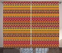 """Tribalカーテンby Ambesonne、ベクトルエスニックスタイルIndian Native American Inspiredイメージwith幾何Borders、リビングルームベッドルームウィンドウドレープ2パネルセット、マルチカラー 108"""" W By 84"""" L p_29793_108x84"""