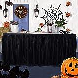 ACHICOO テーブルスカート オーガンザ スタイリッシュ ハロウィン パーティー デコレーション 飾り物 パーティーグッズ 神秘的 ブラック ブラック 14ft