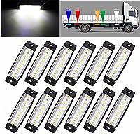 TOWOTO サイドマーカー ランプ ライト 片側 6連 LED トラック ダンプ カー トレーラーカスタム 改造12V/24V 兼用 10個/セット 白