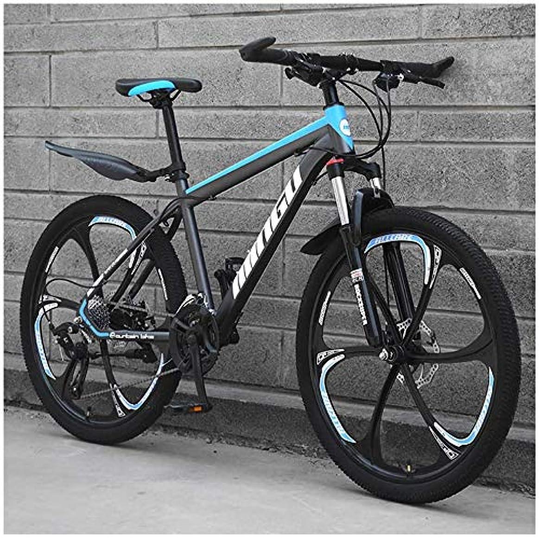 ほめる呼吸する石灰岩24インチメンズマウンテンバイク、フロントサスペンションアジャスタブルシートを用いた高炭素鋼ハードテイルマウンテンBacycle、シアン3スポーク,30 Speed