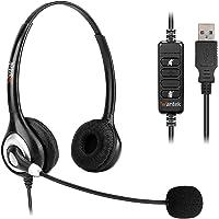 WantekヘッドセットUSB 両耳 ノイズキャンセリングマイク付きとオンライン制御有線PC用ヘッドホン Skype、W…