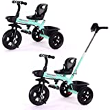 2 in 1 Kids Push Along Tricycle Baby Toddler Trike Bike 3 Wheel Ride On Toy Children Infant Stroller Parent Handle Comfortabl