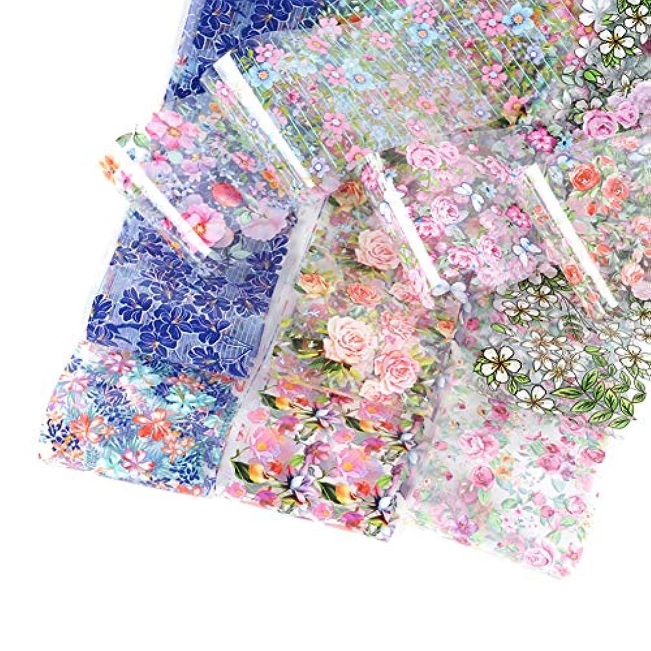美徳予知作るGoshang ネイルシール ネイルステッカー 星空ネイル シェル 花柄ネイルホイル 水彩の花 転写ホイル 箔紙 シェルプリント 極薄フィルム 3D デザイン ネイル転印シール 10pcsセット