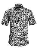 APTRO(アプトロ)半袖シャツ メンズ 花柄 プリント 和柄 夏 フローラル ファンション ハワイ ラペル アロハシャツ APT1022 S