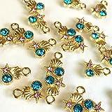 マリンビジュー 8個 海の宝石 アクアマリンローズガラス付ゴールドチャーム アクセサリーパーツ ハンドメイド 手芸材料