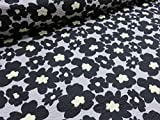 リップル マリメッコ風大きな花柄 ブラック |生地|布地|パジャマ|ワンピース|浴衣|ジンベイ|甚平|ブラウス|シャツ|ベビーウェア||服地|サマー|涼しい|