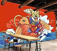 Mbwlkj カスタム壁紙壁画中国民族税関手描き落書きおいしい犬ダイニング背景壁絵画-150cmx100cm